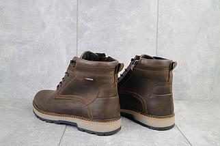 Мужские ботинки кожаные зимние коричневые-матовые Yuves 774, фото 3