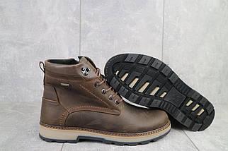 Мужские ботинки кожаные зимние коричневые-матовые Yuves 774, фото 2