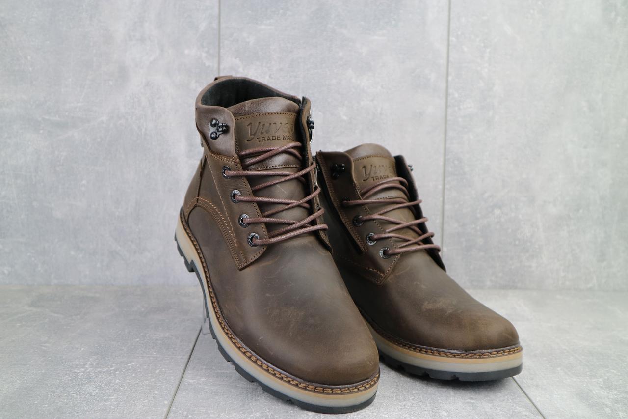 Мужские ботинки кожаные зимние коричневые-матовые Yuves 774