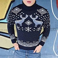 Мужской свитер с оленями с горлом темно синий Турция. Живое фото. Есть другие цвета