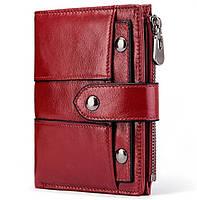 Женское портмоне из натуральной кожи Kavis бордовое, фото 1