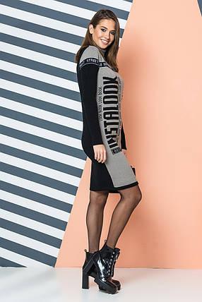 Тепла трикотажна сукня LOOK (капучіно, чорний, білий), фото 2