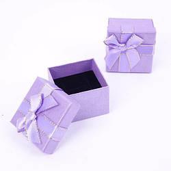 """Коробочка для кольца """"Геометрия с бантом под кольцо фиолетовая 5х5х3,5 см"""""""