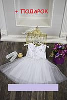 Детское нарядное платье со снежинками +ПОДАРОК (перчатки) 3-5 лет, фото 1