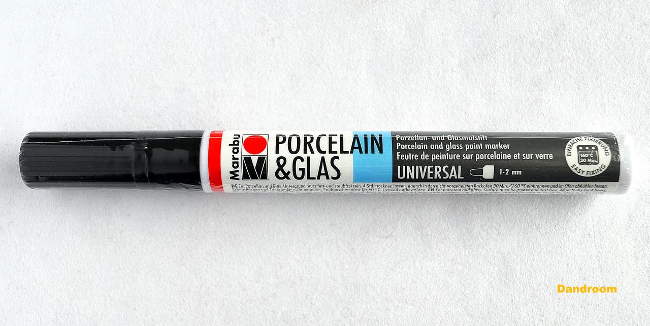 Маркер для стекла и керамики холодной фиксации, Черный, 1-2 мм, Marabu