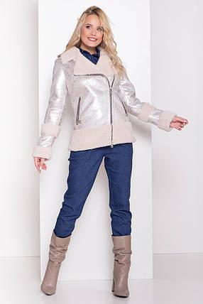 Женская короткая дубленка в стиле косухи /серебро, S, M, L, МО-40664/, фото 2