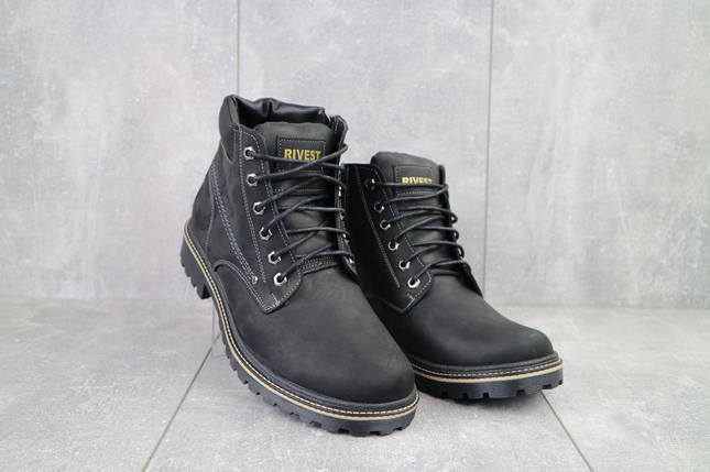 Мужские ботинки кожаные зимние черные Rivest R, фото 2