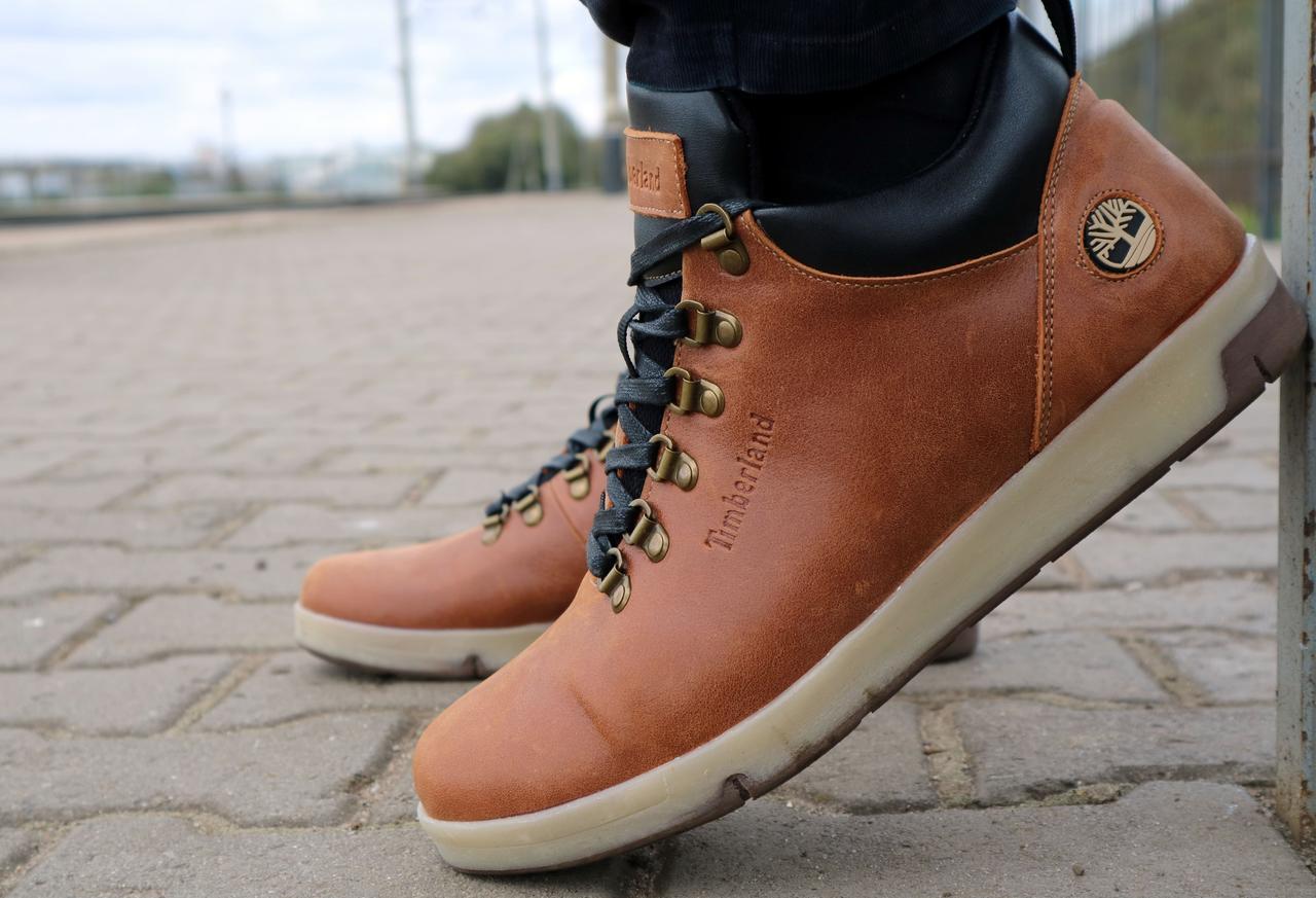 Мужские ботинки кожаные зимние рыжие Yuves 773
