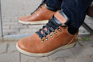 Мужские ботинки кожаные зимние рыжие Yuves 773, фото 3