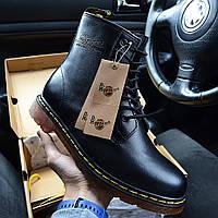 Зимние мужские ботинки Dr.Martens мартинсы черные на меху теплые 36-46рр. Живое фото (Реплика ААА+)