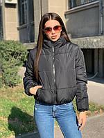 Модная короткая черная зимняя куртка женская