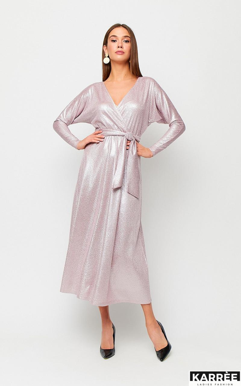 Нежное платье на новый год средней длины длинный рукав пудровый