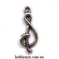 """Метал. подвеска """"скрипичный ключ"""" серебро (1х2,8 см) 8 шт в уп."""