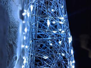 Елка металлическая с гирляндой, железная, лофт, loft, питание от USB, 100 LED, 45 см., настенная, фото 2