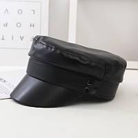 Женский картуз, кепи, фуражка из кожзама в стиле RB черный