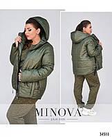 Женская куртка  на синтепоне хаки цвет, фото 1