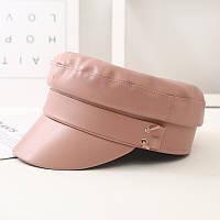 Женский картуз, кепи, фуражка из кожзама в стиле RB розовый (пудра)