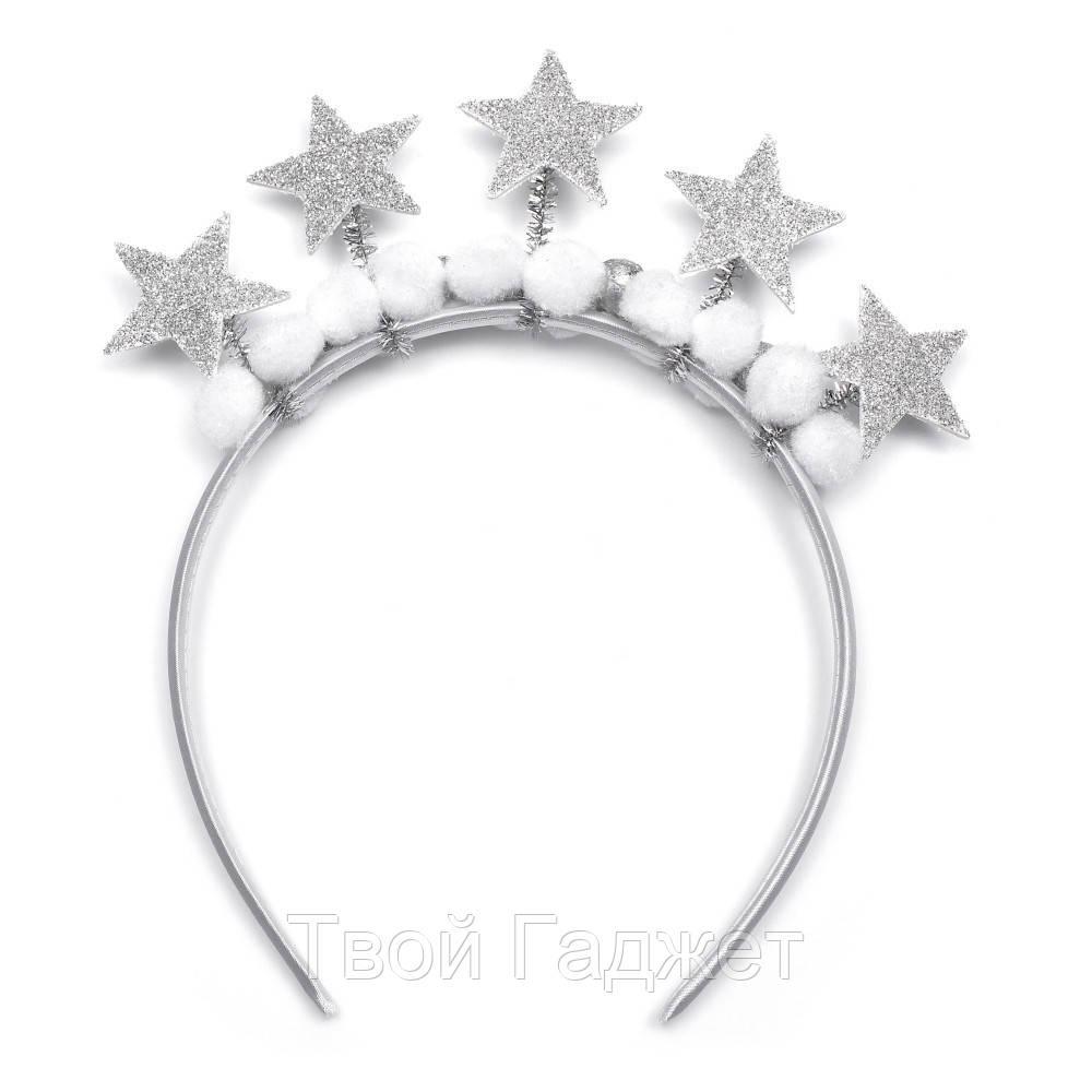 Обруч для волос новогодний со звездочками