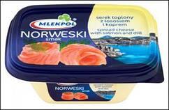 Сливочный сыр с лососем Mlekpol Norweski 150г. (Польша)