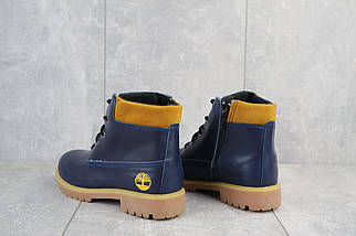 Подростковые ботинки кожаные зимние синие Monster T, фото 3