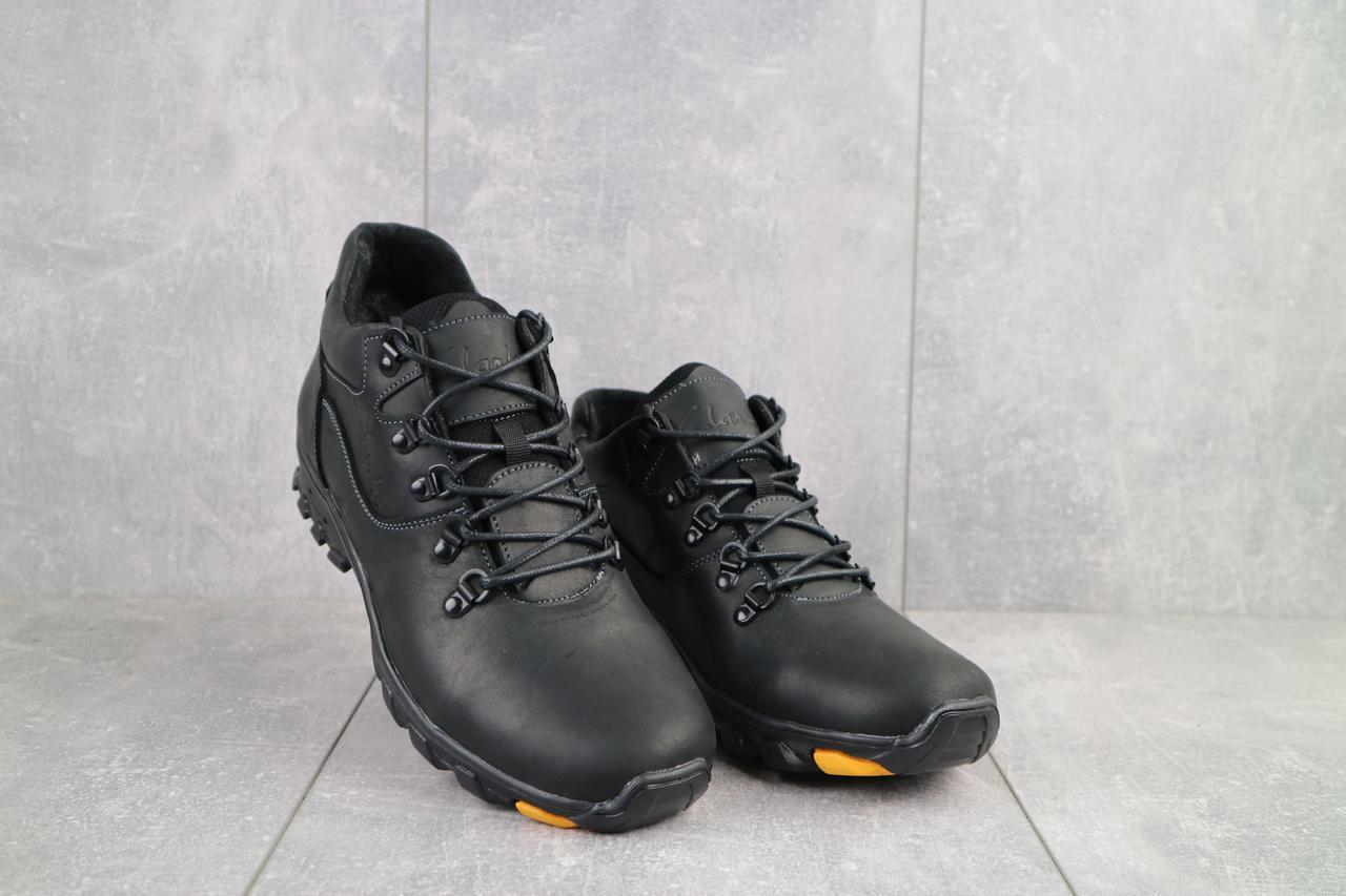 Мужские ботинки кожаные зимние черные-матовые Yuves 501