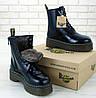Зимние женские ботинки Dr. Martens Jadon Black с черным мехом, Др.Мартенс 39 - Фото