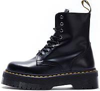 Зимние женские ботинки Dr. Martens Jadon Black с черным мехом, Др.Мартенс 40