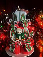 Свеча на новый год, резная ручной работы, со снеговичком