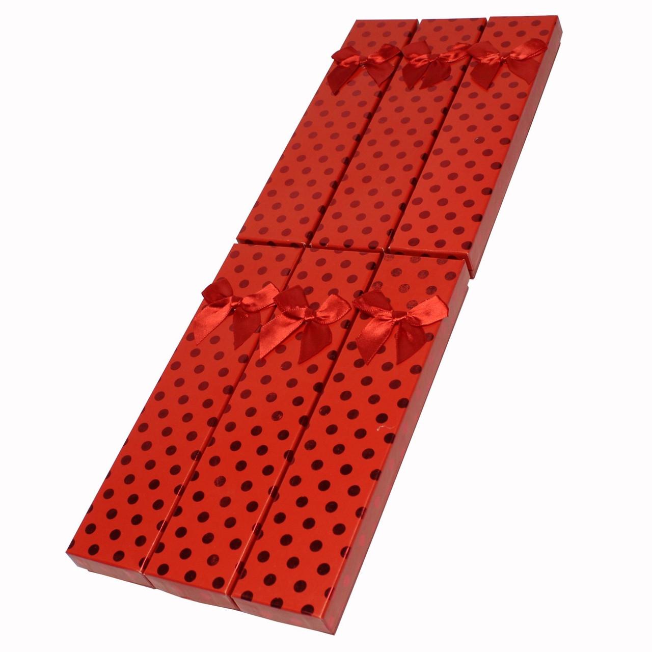 """Подарочная коробочка под браслет или цепочку """"Горошек с Бантом Красный 21 Х 4 Х 2,3 СМ"""""""