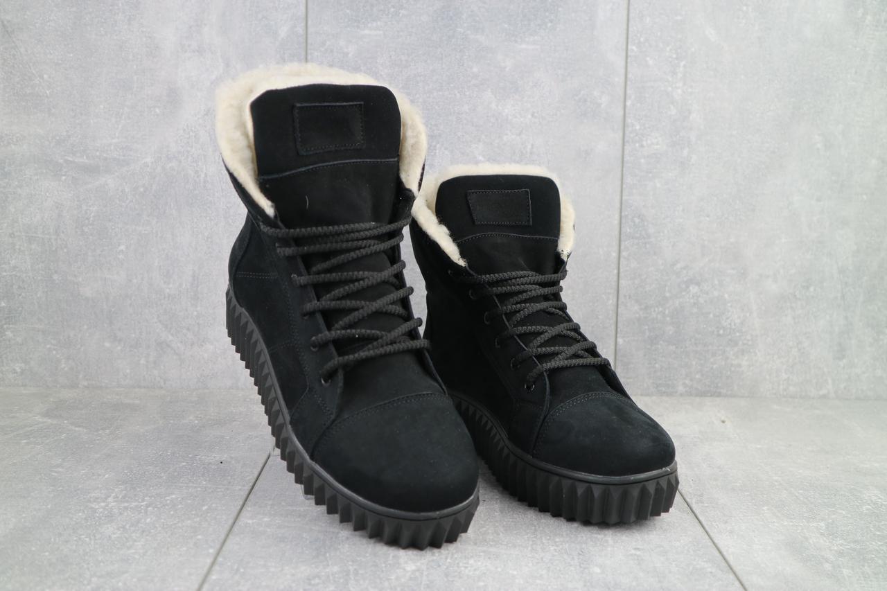 Женские ботинки кожаные зимние черные-нубук CrosSav 151