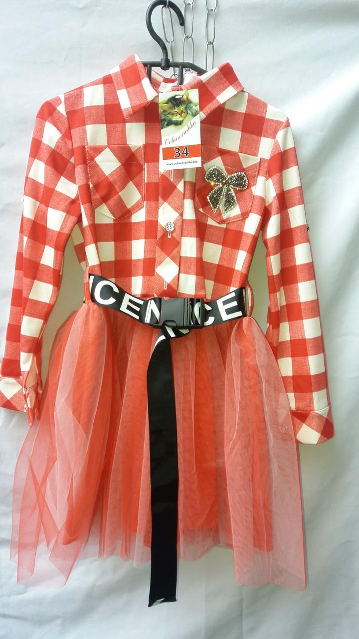 Подростковое платье для девочки клетка р.128-152 красный+белый