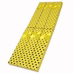 """Подарочная коробочка под браслет или цепочку """"Горошек с Бантом Желтый 21 Х 4 Х 2,3 СМ"""""""