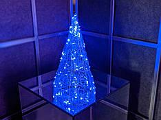Елка металлическая с гирляндой, железная, лофт, loft, питание от сети 220ВТ, 100 LED, 32 см., настольная.