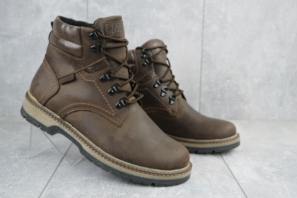 Мужские ботинки кожаные зимние коричневые Yuves Obr 6