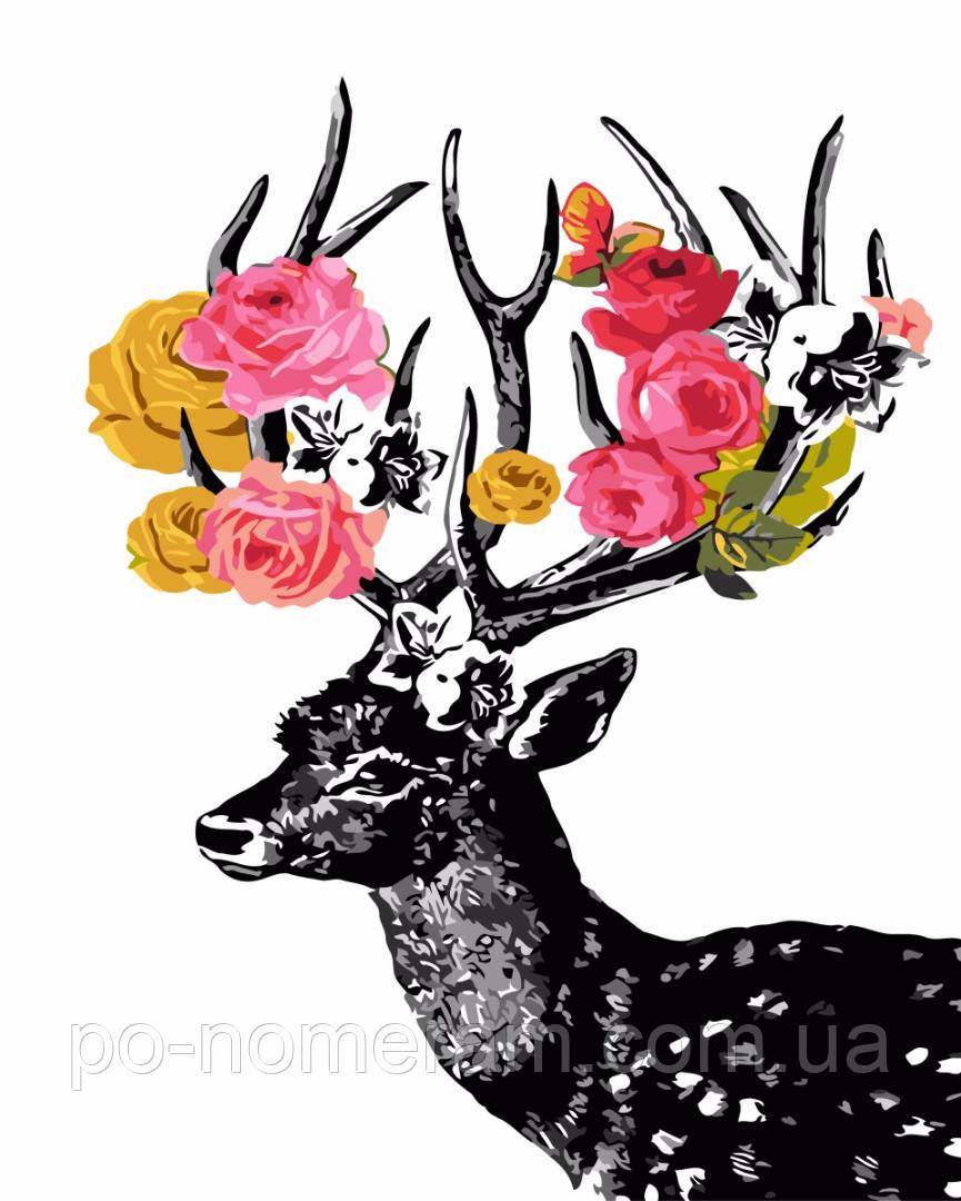 Раскраска по номерам Цветочный олень (BRM3447) 40 х 50 см ...