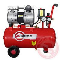 Компрессор 24 л, 1,5 HP, 220 В, 8 атм, 145 л/мин, малошумный, безмасляный, 2 цилиндра INTERTOOL PT-0022