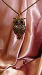 Сова біжутерія кулон з ланцюжком з камінням сваровскі., фото 4