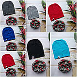 Стильные трикотажные детские наборы шапка+хомут, снуд, фото 2