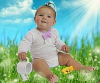 Красивый детский бодик  длинный рукав трикотаж