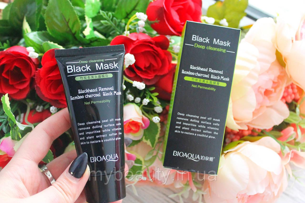 Черная маска-пленка с бамбуковым углем от черных точек Bioaqua Bamboo Charcoal Black Mask Deep Cleansing