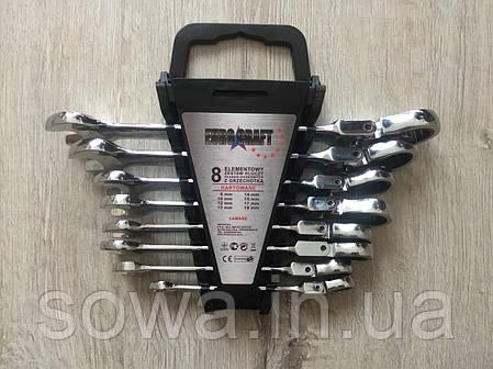 ✔️ Набор рожково-накидных ключей с  трещоткой на кардане  Euro craft - 8 шт, фото 2