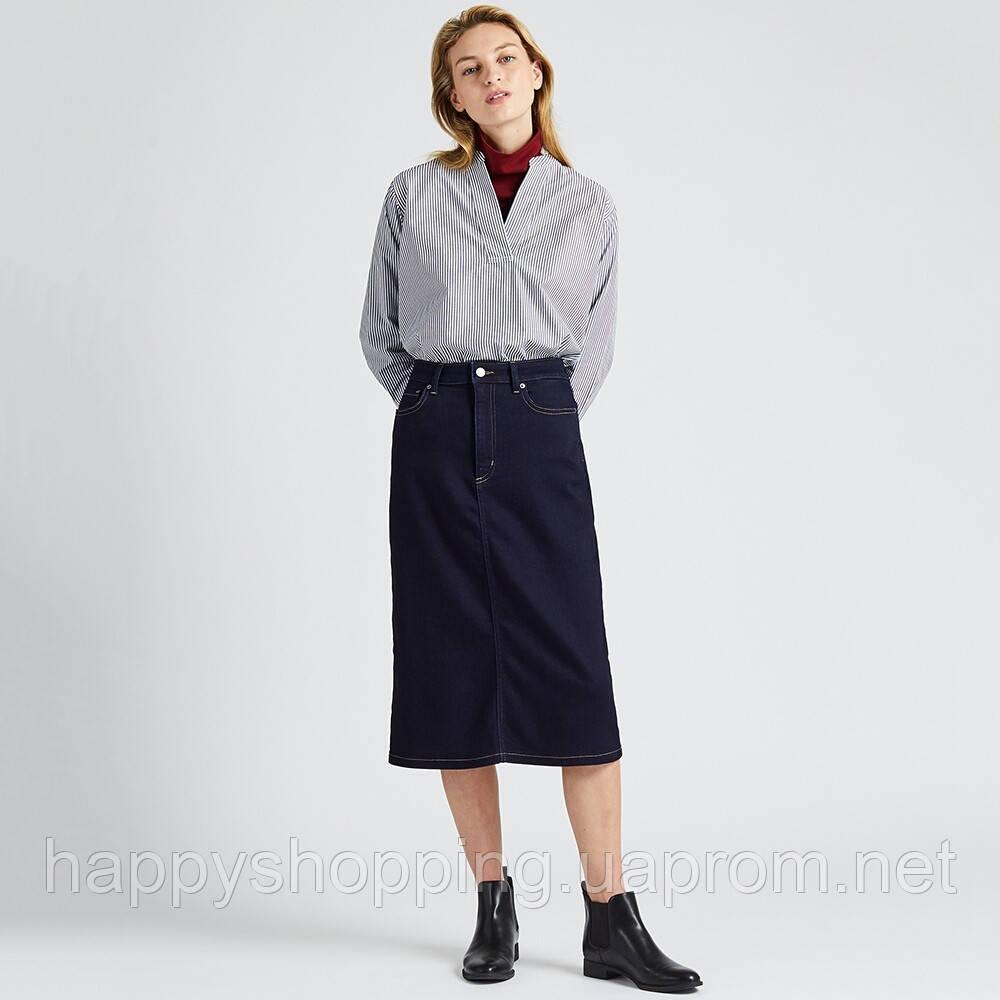 Женская темно-синяя джинсовая  миди юбка Uniqlo (Размер - XS)