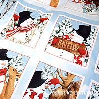 53001 Снежная история (купон). Ткань новогодняя с изображением снеговиков.