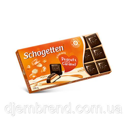 Черный шоколад с арахисом и соленой карамелью Schogetten Peanut and salted Caramel 100г