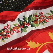 46016 Алое рождество. Ткань с новогодним рисунком. Декоративные ткани., фото 3