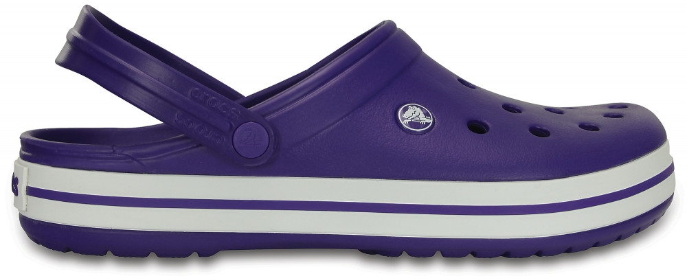 Женские Сабо Крокс  Crocs Croсband Фиолетовые с белой полосой