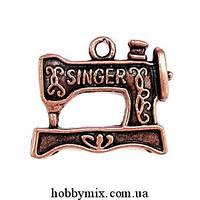 """Метал. подвеска """"швейная машинка singer"""" медь (2х1,8 см) 6 шт в уп."""