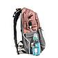 Рюкзак для Мамы на Коляску для Детских Принадлежностей Оригинал Machine Bird (078) Розовый с Серым, фото 4