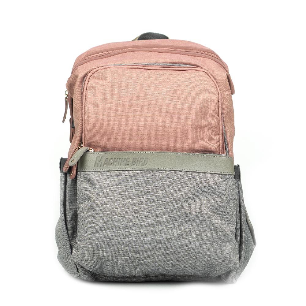 Рюкзак для Мамы на Коляску для Детских Принадлежностей Оригинал Machine Bird (078) Розовый с Серым