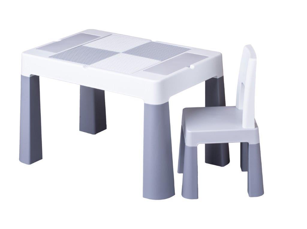 Детский столик и стульчик для игр комплект серый